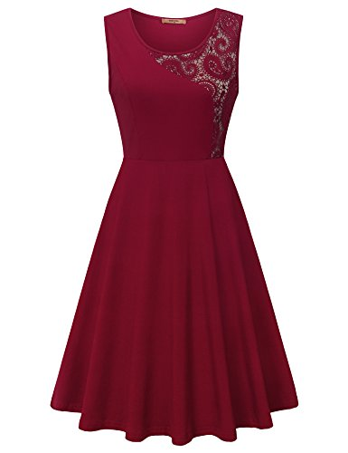 MCKOL Floral Lace Stitching Evening Dress Sleeveless Casual Elegant Dress 50s Swing Dress for Women Cocktail Party Dress (XXL,Wine)
