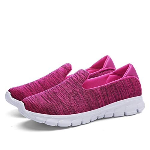 JOYBI Women Casual Walking Sneakers Breathable Round Toe Comfort Soft Slip-On Fashion Flat Loafers Shoes Rose Red