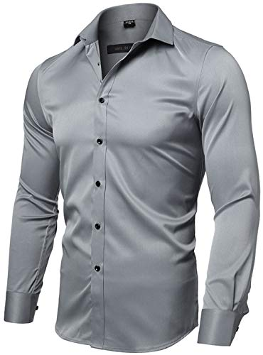 FLY HAWK Mens Fiber Casual Button Up Slim Fit Collared Formal Shirts, Gray Button Down Shirt
