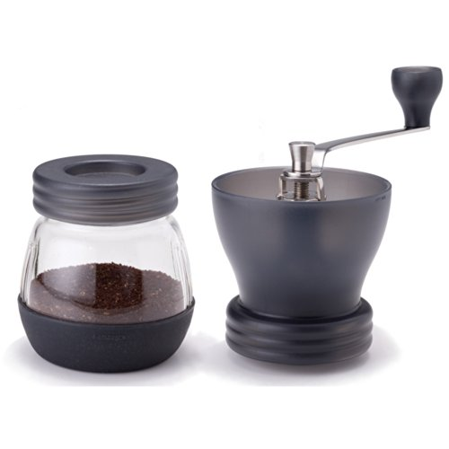 -[ Hario Medium Glass Hand Coffee Grinder with Ceramic Burrs, Clear  ]-