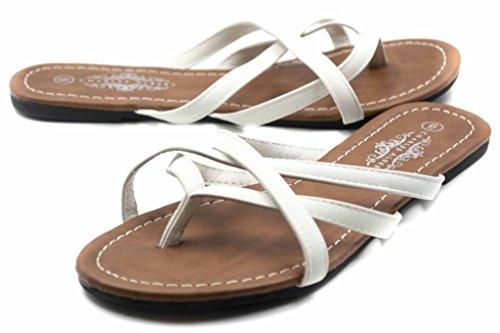 Charles Albert Womens Selene Multi Strap Criss Cross Flip Flop Sandal White 9jyVQtcfk