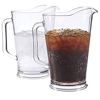 Restaurant Style 64-ounce Plastic Water/Beer Pitcher | set of 2 Clear