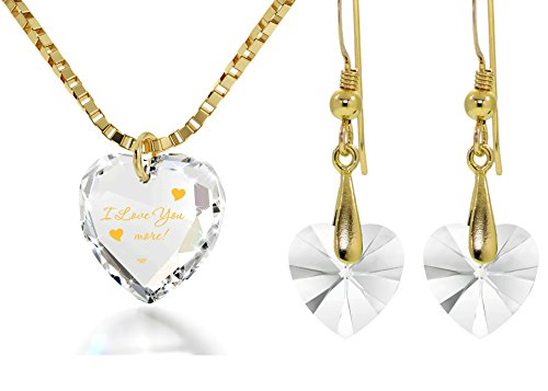 Crystal Tiny Heart Jewelry Set Gold Inscribed I Love You More Necklace and Drop Earrings, 18'' Gold Filled by Nano Jewelry