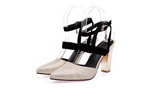 Bianco Flats 34 Toe da Donna Rosso Sweet Tacco Peep Alto Sandali Taglia MYI Beige con Nero 39 Sandali qwSFxBAO