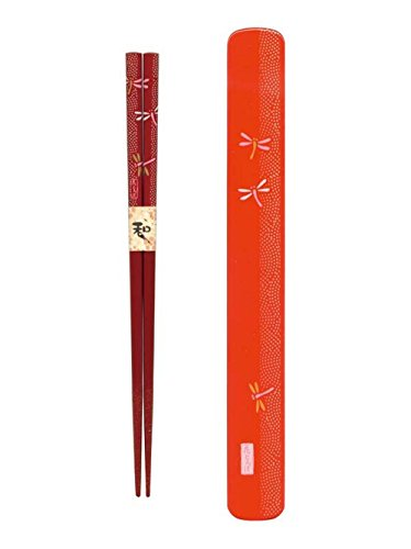 Japanbargain S-3688, Japanese Travel Chopsticks with Case Dragonfly, Red ()