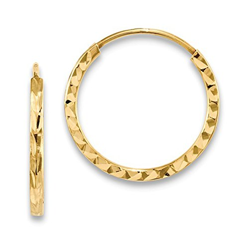 Small 14K Yellow Gold Diamond Cut Square Tube Continuous Endless Hoop Earrings, (17mm) (1.35mm Tube) ()