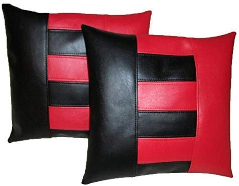 (Leather Lovers 100% Lambskin Leather Pillow Cover - Sofa Cushion Case - Decorative Throw Covers for Living Room & Bedroom - 14x14 Inches - Red Black 02 Pack of 1)