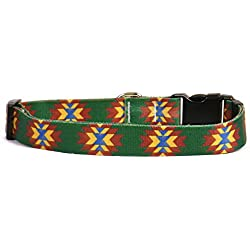 """Yellow Dog Design Navajo Dog Collar with Tag-A-Long ID Tag System, Small-3/4 Wide fits Neck Sizes 10 to 14"""""""