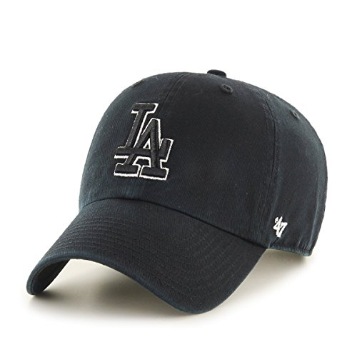 (47 Brand Clean Up Los Angeles Dodgers Men's Snapback in Black and White)