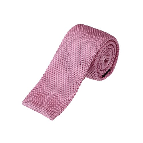 (Pink Classic Skinny Knitted Neck Tie 2