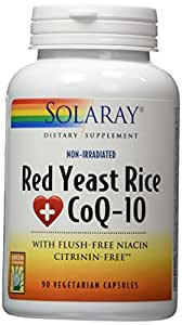 Solaray Red Yeast Rice + COQ-10 VCapsules, 90 Count