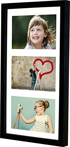 BD ART 18x35 cm (7x14-Inch) - 3 Aperture Black Collage Picture Frame with Mat for 3 Photos 4x6-Inch (Frame Horizontal Three Photo)