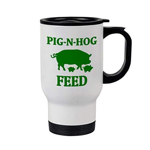 Style In Print Forest Green Pig N Hog Feed Steel Travel Mug - White