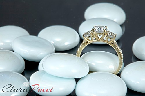 2.2 Ct Round Cut Pave Three Stone Accent Promise Bridal Anniversary Engagement Wedding Band Ring 14K Yellow Gold, Clara Pucci