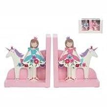 Pink Ballerina & Unicorn Wooden Bookends Set by Gisela Graham