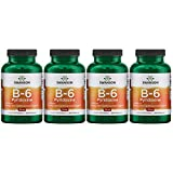 Swanson Vitamin B-6 Pyridoxine 100 mg 250 Caps 4 Pack