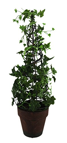 (Zeckos 18 Inch Tall English Ivy Obelisk Topiary Artificial Plant in Terracotta)