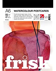 Frisk 23193306 Watercolour Paper Postcard Pad A6 300gsm Rough 12 vellen aquarelpapier briefkaartenblok, wit