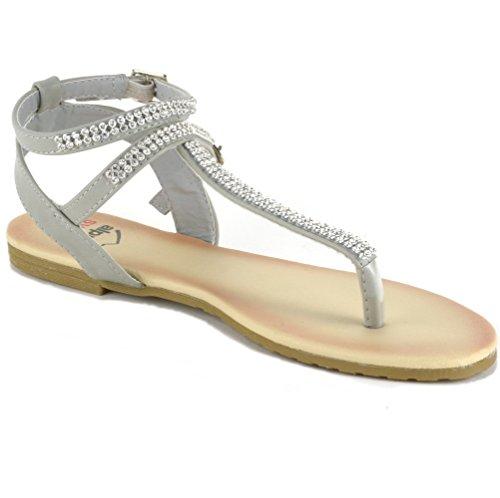 5b83a56a17a7a8 Alpine Swiss Womens Slingback T-Strap Rhinestone Ankle Strap Thong Sandals