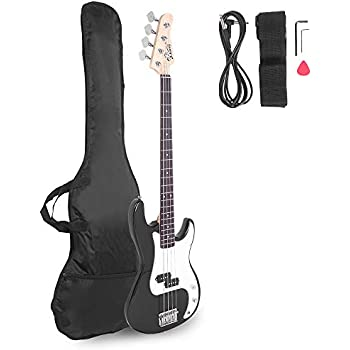 davison guitars 4 string black full size electric bass guitar with cord and picks by. Black Bedroom Furniture Sets. Home Design Ideas