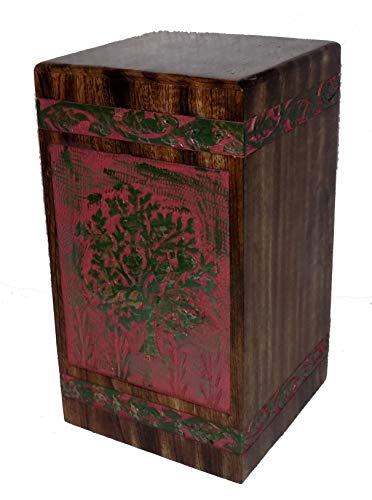 NAAZ WOOD ARTS Tree of Life Urns for Human Ashes Adult (11.25 x 6.25 x 6.25) | 250 Cu/in (Antique Mango Wood Alter) Pink and Green