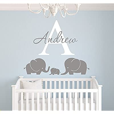 Elephants Custom Name Wall Decal - Nursery Wall Decals - Elephant Room Decoration - Elephant Wall Decal Vinyl Sticker for Boys: Baby