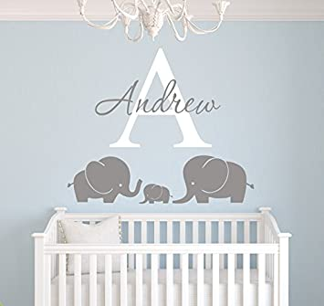 Elephants Custom Name Wall Decal - Nursery Wall Decals - Elephant Room Decoration - Elephant Wall  sc 1 st  Amazon.com & Amazon.com: Elephants Custom Name Wall Decal - Nursery Wall Decals ...