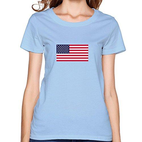 Women USA:s Flag Tshirt,SkyBlue Tshirt By HGiorgis XXL SkyBlue