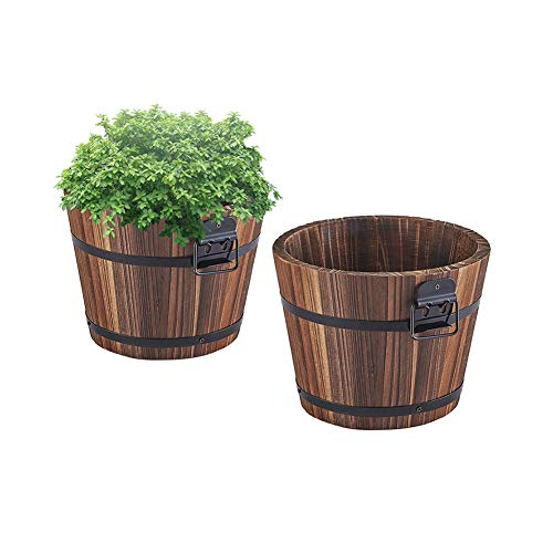 Wooden Bucket Barrel Planters - 5.5'' Rustic Flower Planters Pots Boxes Container with Drainage Holes for Patio Garden Outdoor Indoor Home Decor Small Plants, Brown Set of 2