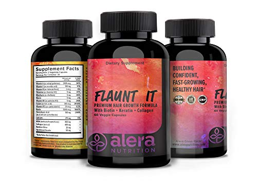 ALERA Nutrition Hair Growth Formula - Best Natural Vitamin Supplement with Biotin, Keratin, and Bamboo Collagen for Growing Stronger Thicker Hair for Women and Men | 60 Count