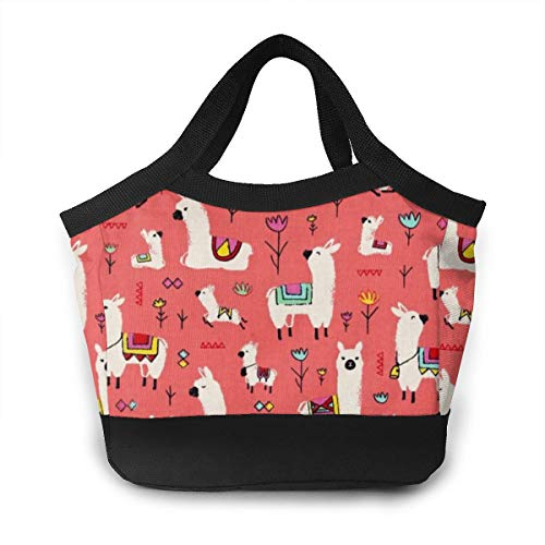 Lunch Box - Timeless Treasures Alpacas Coral Lunch Tote Bag Organizer for Work/School/Meal Prep, Women Men And Kids Lunch Container Totebag Reusable Leakproof Drinks Holder