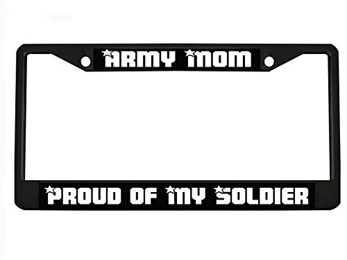 SOLDIER Black License Plate Frame, License Tag Holder (Army Mom License Plate Frame)