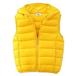 M2C Girls\' Lightweight Packable Down Vest Thin Puffer Winter Vest Waistcoat (7T, Yellow)