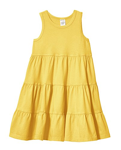 City Threads Little Girls' Super Soft Cotton Tank Tiered Dress for School Park Play and Party, Yellow, 2T
