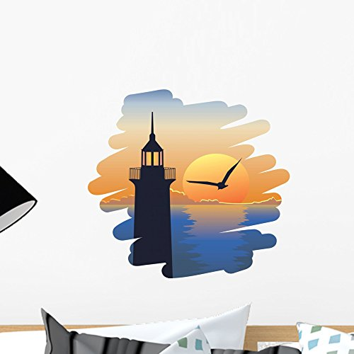 Wallmonkeys Lighthouse at Sunset Wall Decal Peel and Stick Graphic WM270918 (18 in W x 17 in H)