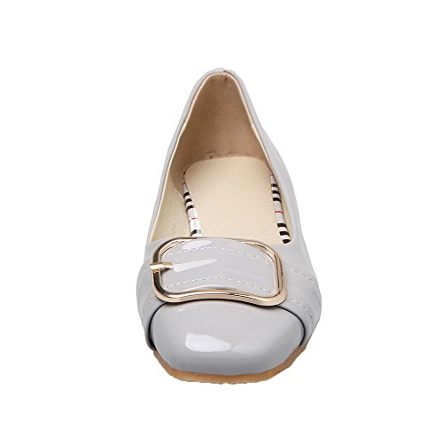 AmoonyFashion Womens Patent Leather Solid Pull-On No-Heel Pumps-Shoes Gray XEhJVNwoVb