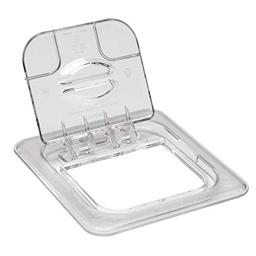Polycarbonate Solid Food Pan Covers - Cambro 60CWL135 Clear Camwear 1/6 Size Solid Food Pan Flip Lid