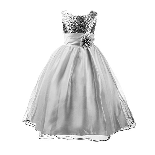 Acecharming Little Girls' Sequin Mesh Flower Ball Gown Party Wedding Tulle Ruffle Dress, Suitable for11-12 Years(Silver Gray)