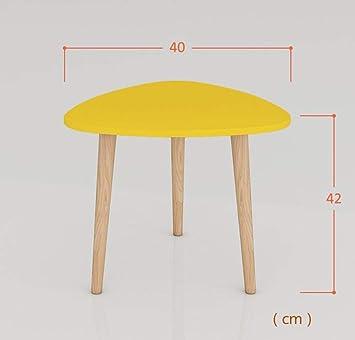AFDK Sofá de madera Mesa auxiliar Mesa de centro amarilla Mesa de ...