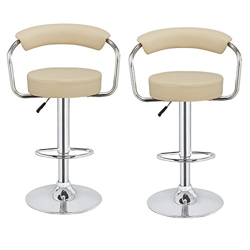 2 x Homegear M1 50s Diner Adjustable Swivel Faux Leather Bar Stools Cream (Bar Only Stool Cream Frame)