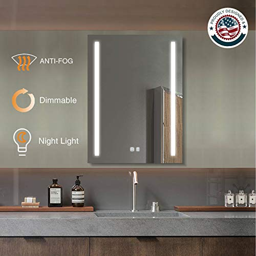 ExBrite LED Bathroom Mirror, 24 x 32 inch, Anti Fog, Night Light, -