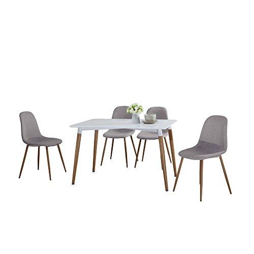 Savannah Tischgruppen Essgruppe Sitzgruppe hellgrau Tisch: 120 x 75,5 x 80 cm / Stuhl: 45 x 82 x 53,5 cm inkl. 1 Tisch und 4 Stühlen