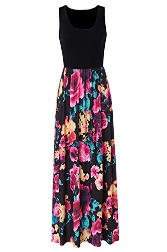 Zattcas Women's Casual Tank Top Long Dress Sleeveless Floral Print Maxi Dresses,Black1,Large