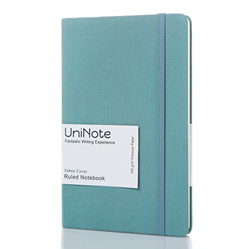 UniNote Notebook | Classic Notebook with Fabric Hardcover - A5 College Ruled Writing Notebook with Inner Pocket, Premium 100gsm Paper, 192 Pages, 8.25 × 5.25 in (Green) by UniNote