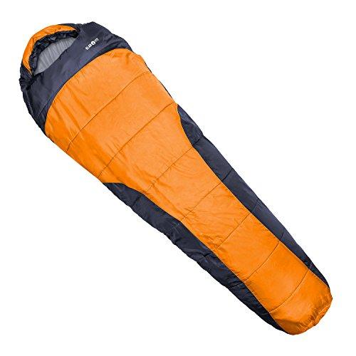 Klarfit Gullfoss Outdoor Camping Schlafsack kleiner Mumienschlafsack 2-lagig (warm bis 5 Grad minus , geringe Packmaße 23 x 40 x 23cm, mit Reißverschluss Einklemmschutz, 1,5kg leicht) orange