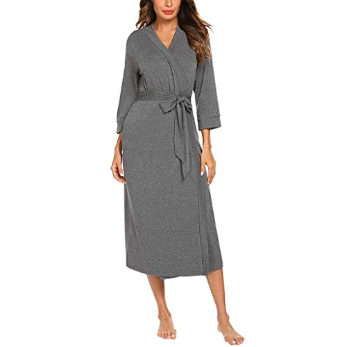 Women's V-Neck Sleepwear with Belt Long Robe Bathrobe 4/3 Sleeve Sleepwear Dark Gray
