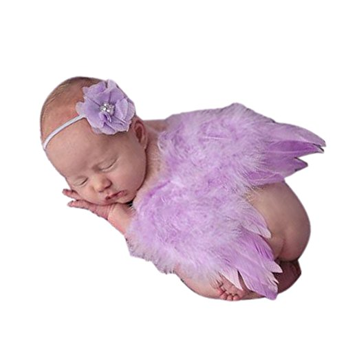Newborn Baby Girl&Boy Feather Angel Wings Costume Photo Prop Outfits Costume (Purple)