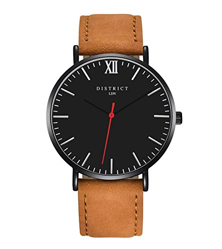 175715b7720 DISTRICT London Rouge Edition Mens Genuine Leather Brown Band Quartz Wrist  Watch Mens Luxury Classic Simple Casual Design Black Dial Business Fashion  ...