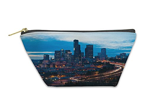 Gear New Accessory Zipper Pouch, Seattle Downtown In The Night, Large, - Downtown In Stores Seattle