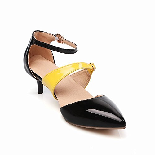 Mee Shoes Womens Charm Kitten-heel Ankle-wrapped Court Shoes Black Rjdt0